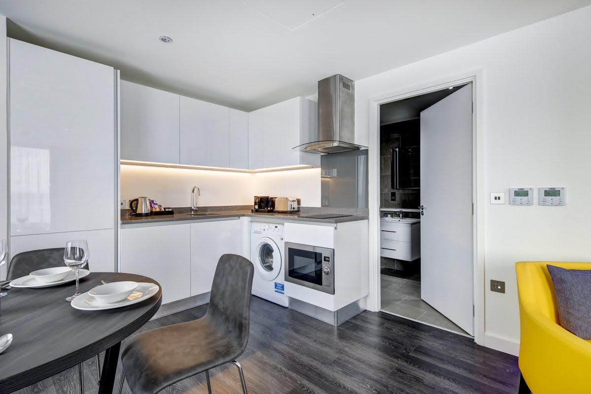 Sleek kitchen at ExCel Dockside Apartments, Royal Docks, London - Citybase Apartments