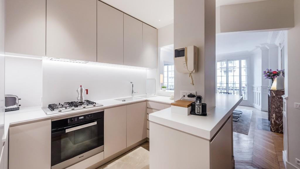 Kitchen at Four Saint Germain Apartments, Monnaie, Paris - Citybase Apartments