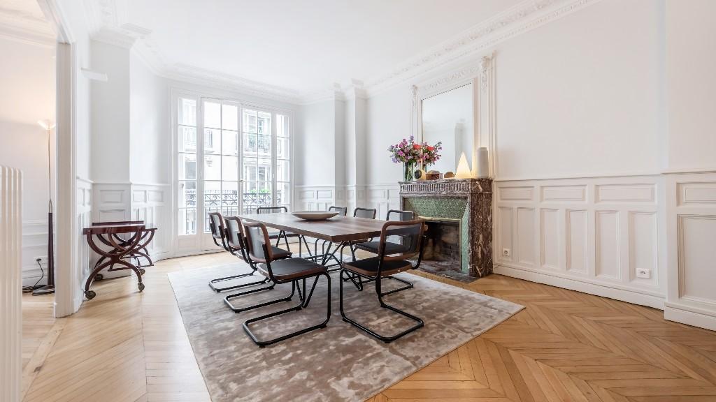 Dining area at Four Saint Germain Apartments, Monnaie, Paris - Citybase Apartments