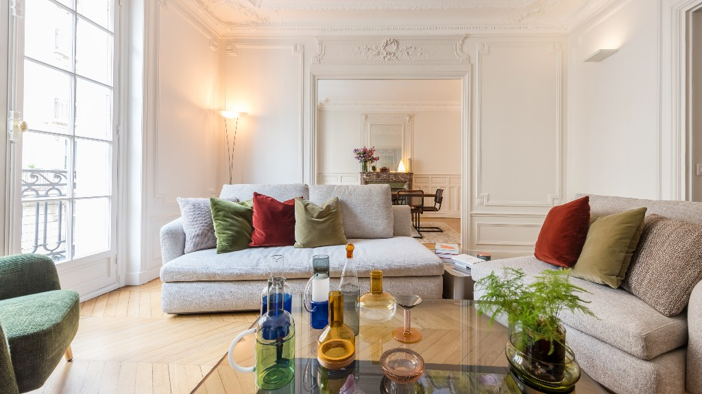 Sofas at Four Saint Germain Apartments, Monnaie, Paris - Citybase Apartments