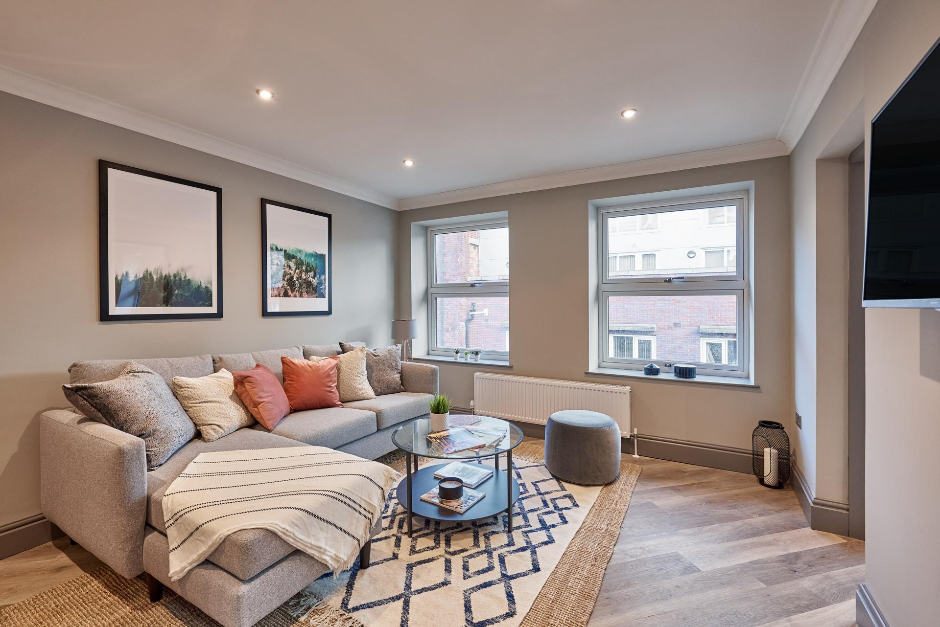 Living Room at The St Paul's Residence, Jewellery Quarter, Birmingham - Citybase Apartments