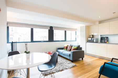 Open-plan living area at Lounge at Marzell House Serviced Apartments, West Kensington, London - Citybase Apartments