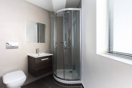 Shower at Marzell House Serviced Apartments, West Kensington, London - Citybase Apartments