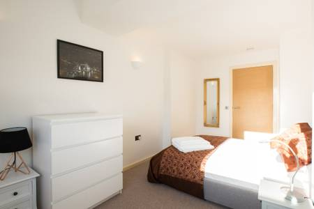 Bedroom layout at Marzell House Serviced Apartments, West Kensington, London - Citybase Apartments