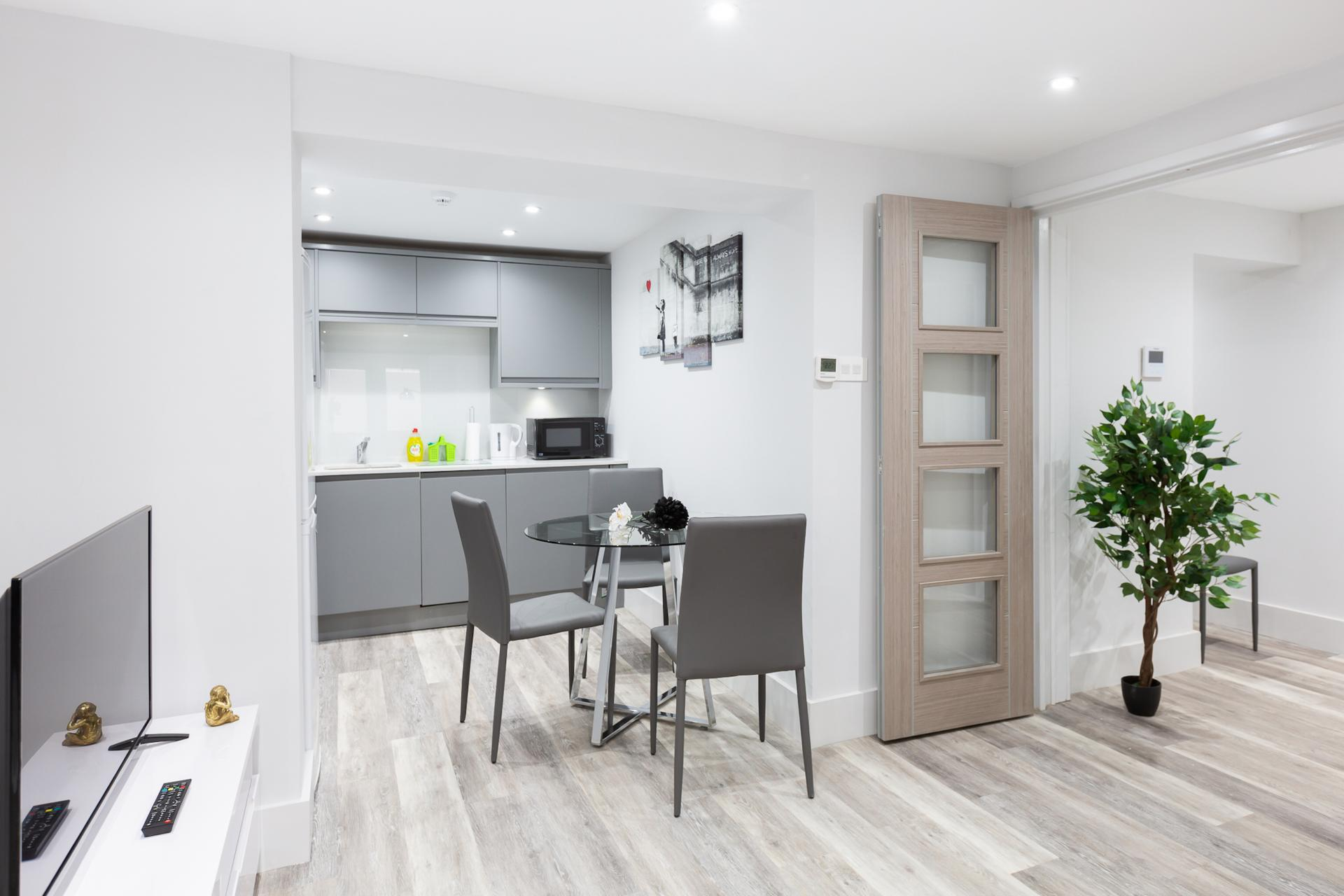 Dining Area at Harrow Road Apartments, Westbourne Green, London - Citybase Apartments