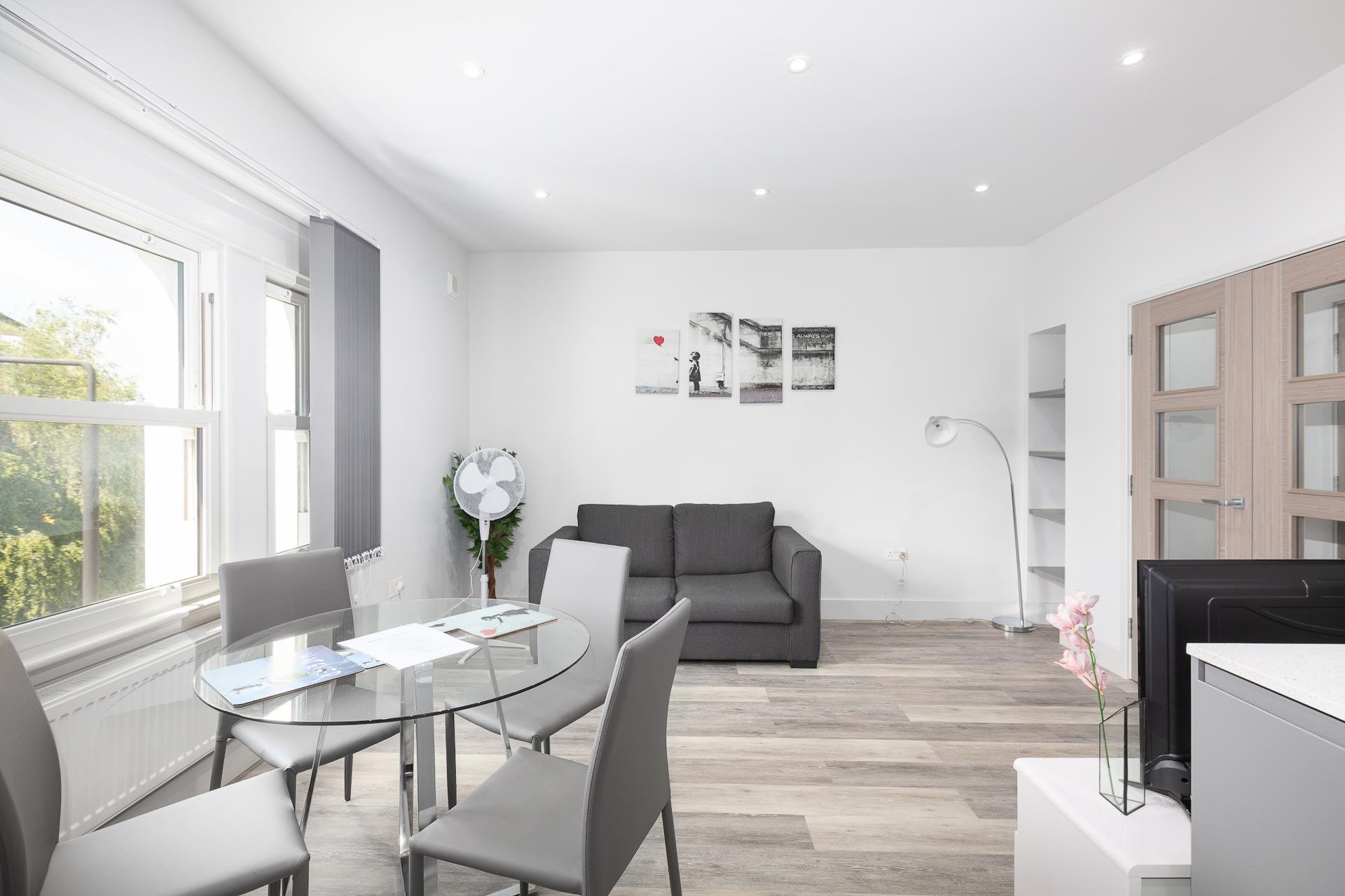Living Area at Harrow Road Apartments, Westbourne Green, London - Citybase Apartments