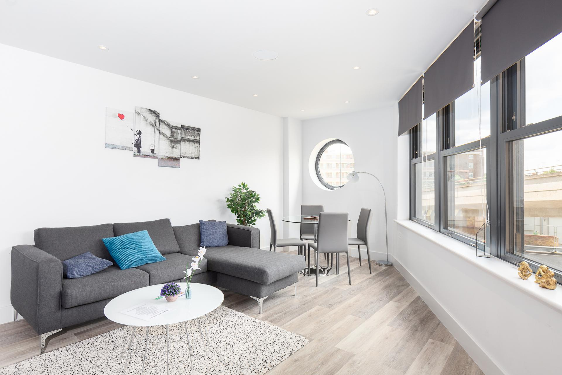 Lounge at Fulham Serviced Apartments, Fulham, London - Citybase Apartments