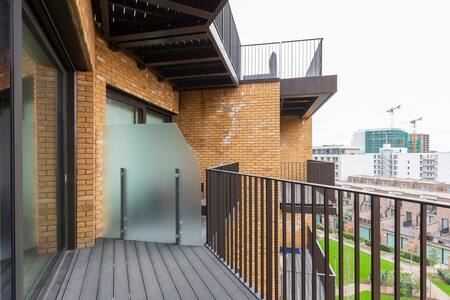 Balcony at Royal Wharf Apartment, Silvertown, London - Citybase Apartments