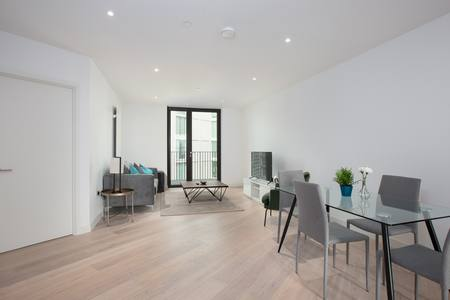 Living Area at Royal Wharf Apartment, Silvertown, London - Citybase Apartments