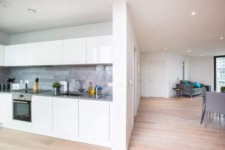 Kitchen at Royal Wharf Apartment, Silvertown, London - Citybase Apartments