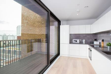 Kitchen window at Royal Wharf Apartment, Silvertown, London - Citybase Apartments