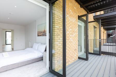 Bedroom Balcony at Royal Wharf Apartment, Silvertown, London - Citybase Apartments