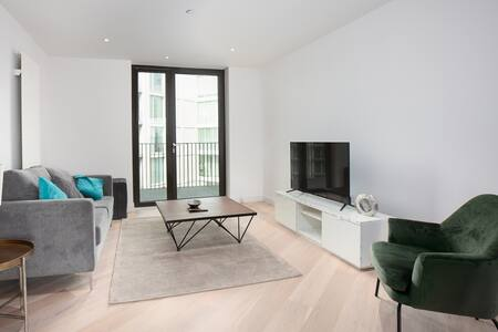 Living Room at Royal Wharf Apartment, Silvertown, London - Citybase Apartments