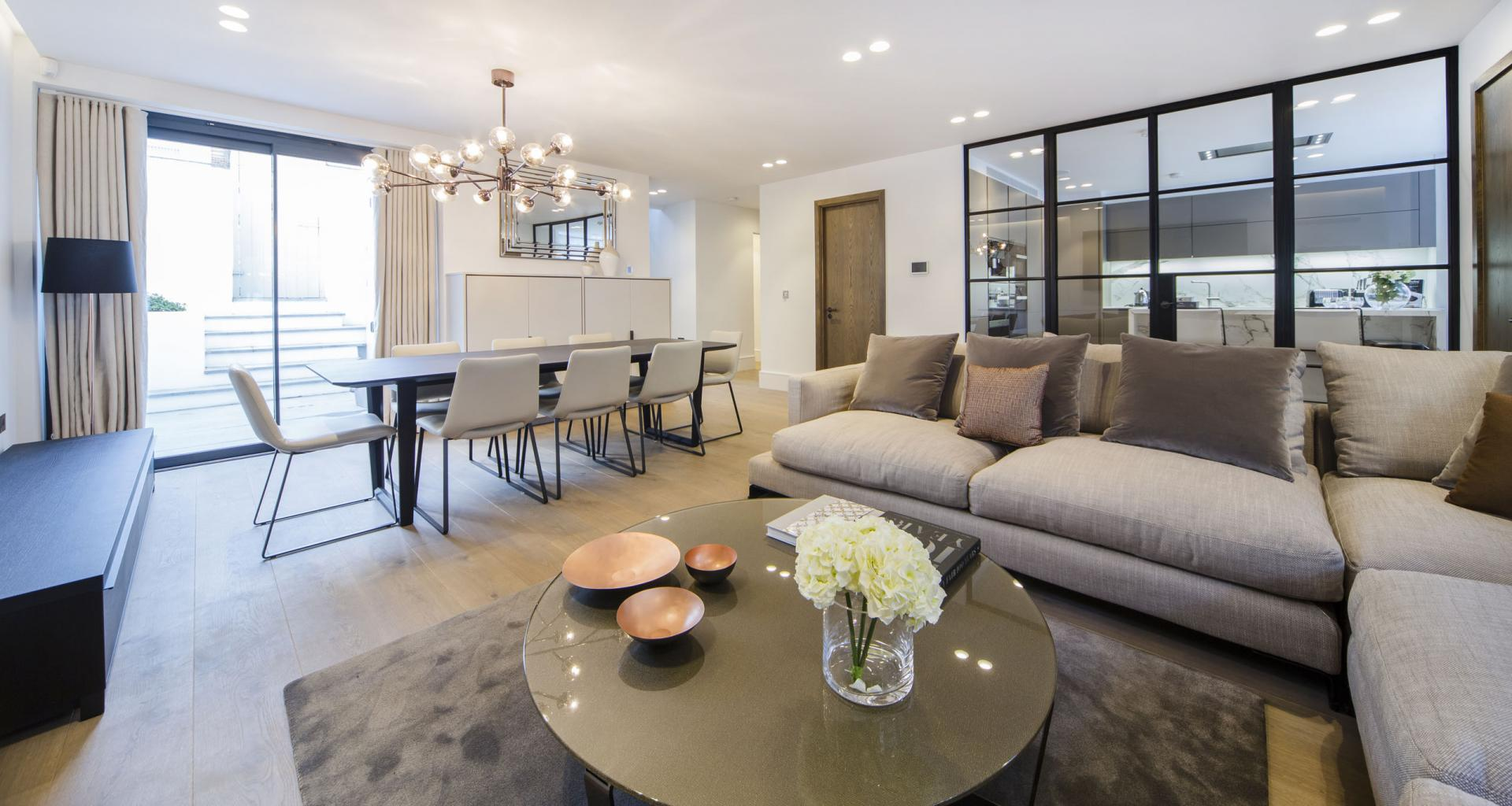 Dining area at 21 Campden Hill Garden House, Notting Hill, London - Citybase Apartments