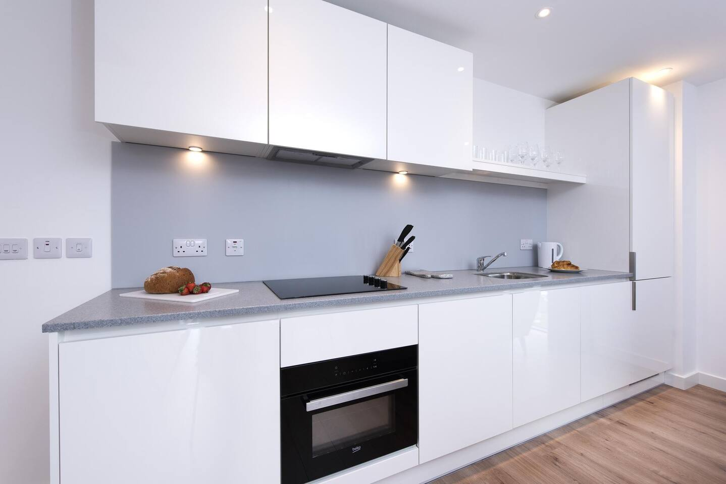 Sleek kitchen at The Lansdowne Apartments, Ladywood, Birmingham - Citybase Apartments