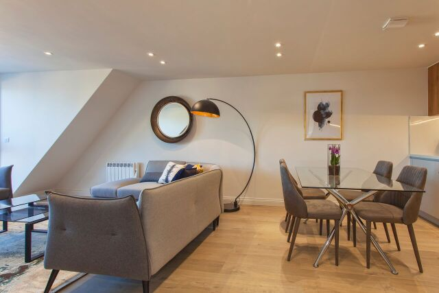 Living diner at Brixham Court Apartments, Centre, Staines - Citybase Apartments