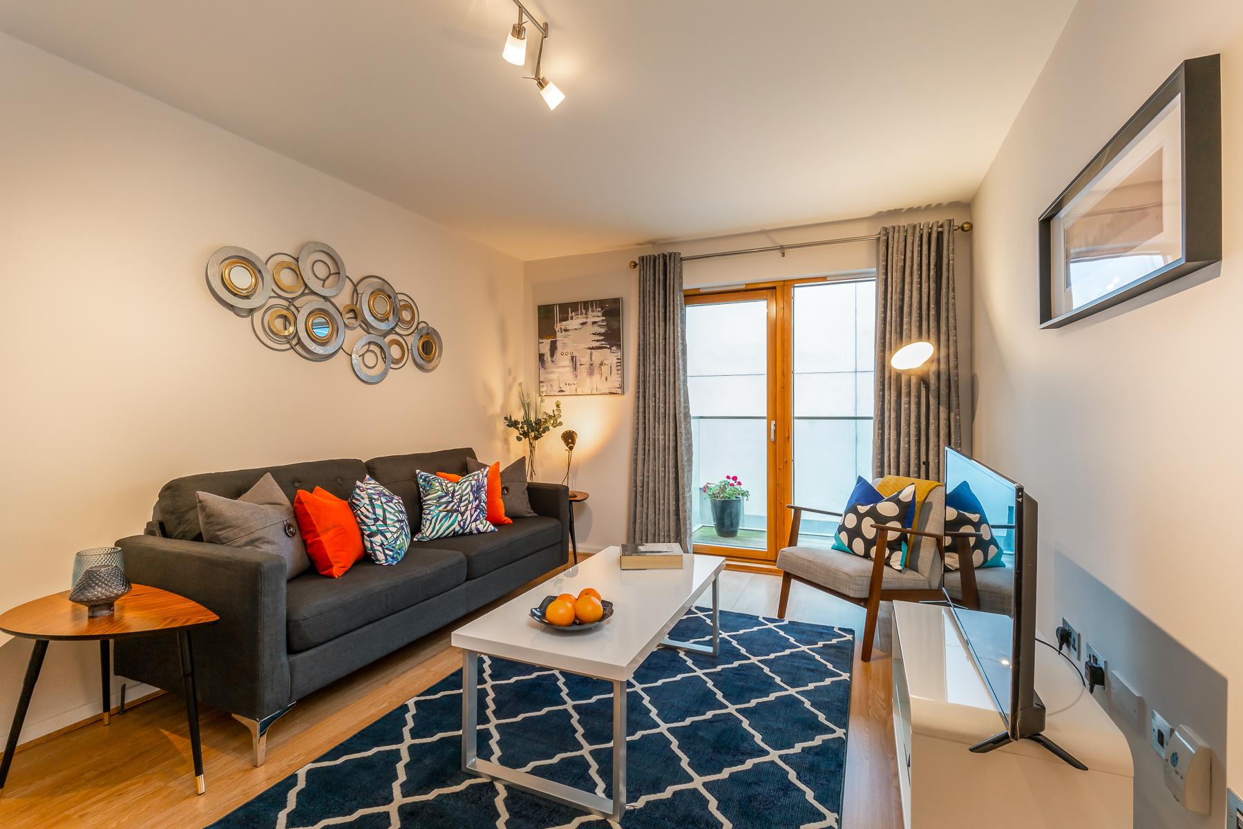 Living area at Lazer Lane Apartment, Centre, Dublin - Citybase Apartments