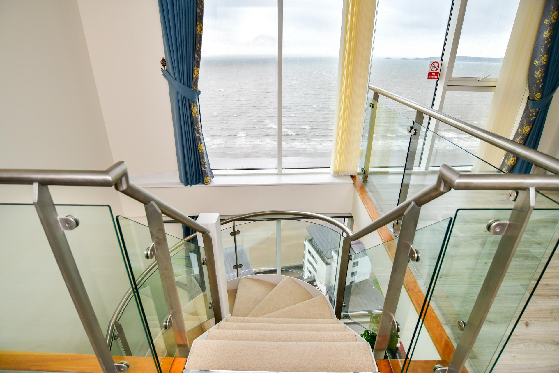 Staircase at Meridian Quay Penthouses, Maritime Quarter, Swansea - Citybase Apartments