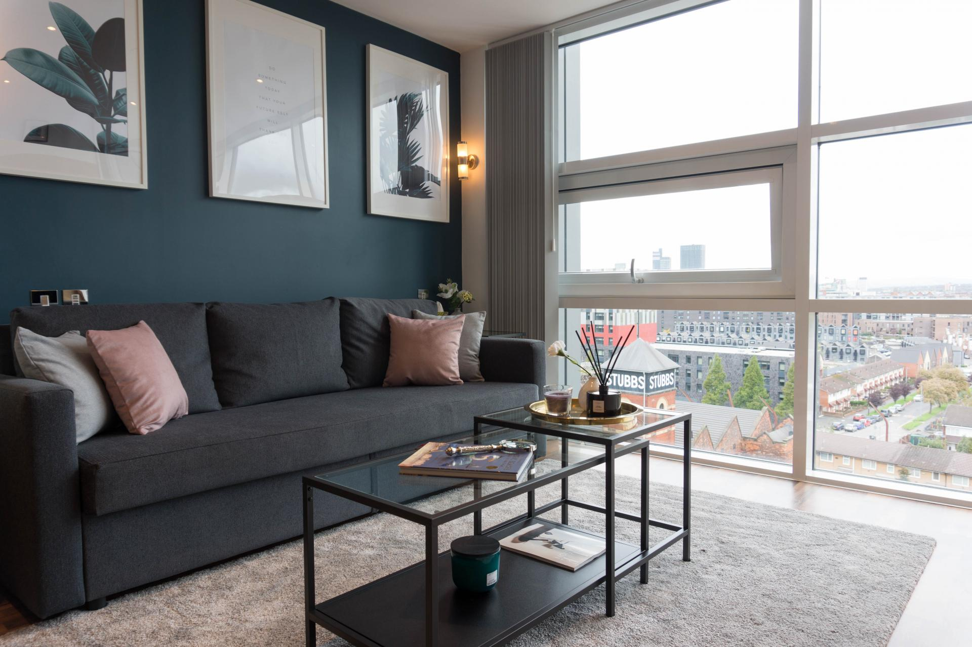 Sofa at Milliners Wharf Apartment, New Islington, Manchester - Citybase Apartments