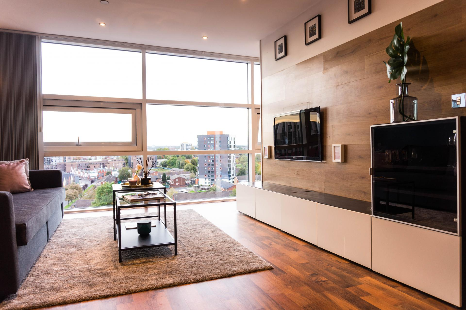 Living room at Milliners Wharf Apartment, New Islington, Manchester - Citybase Apartments
