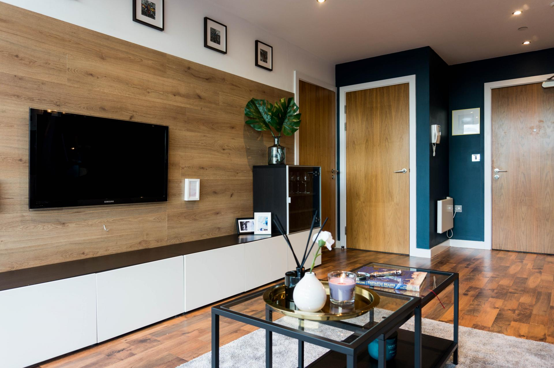 Tv at Milliners Wharf Apartment, New Islington, Manchester - Citybase Apartments
