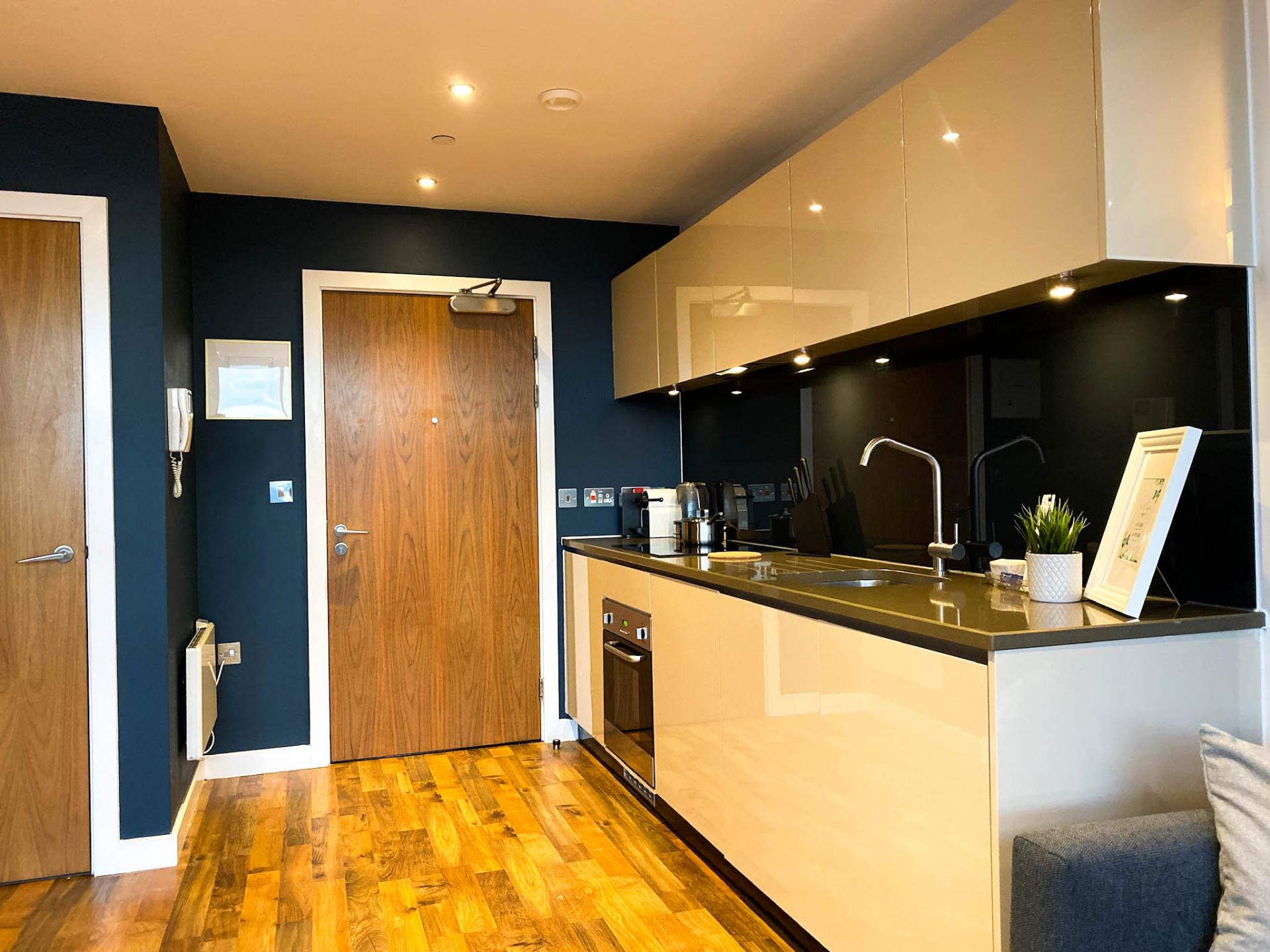 Kitchen at Milliners Wharf Apartment, New Islington, Manchester - Citybase Apartments