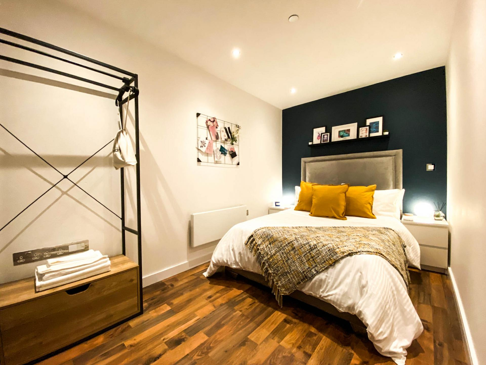 Bedroom at Milliners Wharf Apartment, New Islington, Manchester - Citybase Apartments