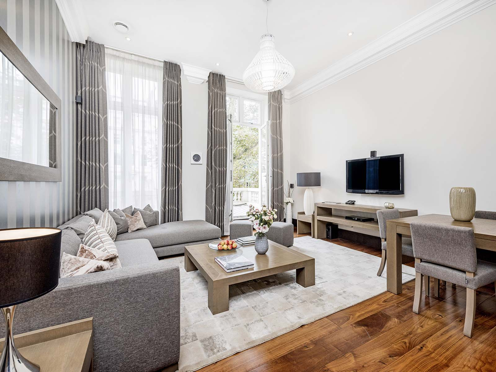 Living room at 130 Queens Gate Apartments, South Kensington, London - Citybase Apartments