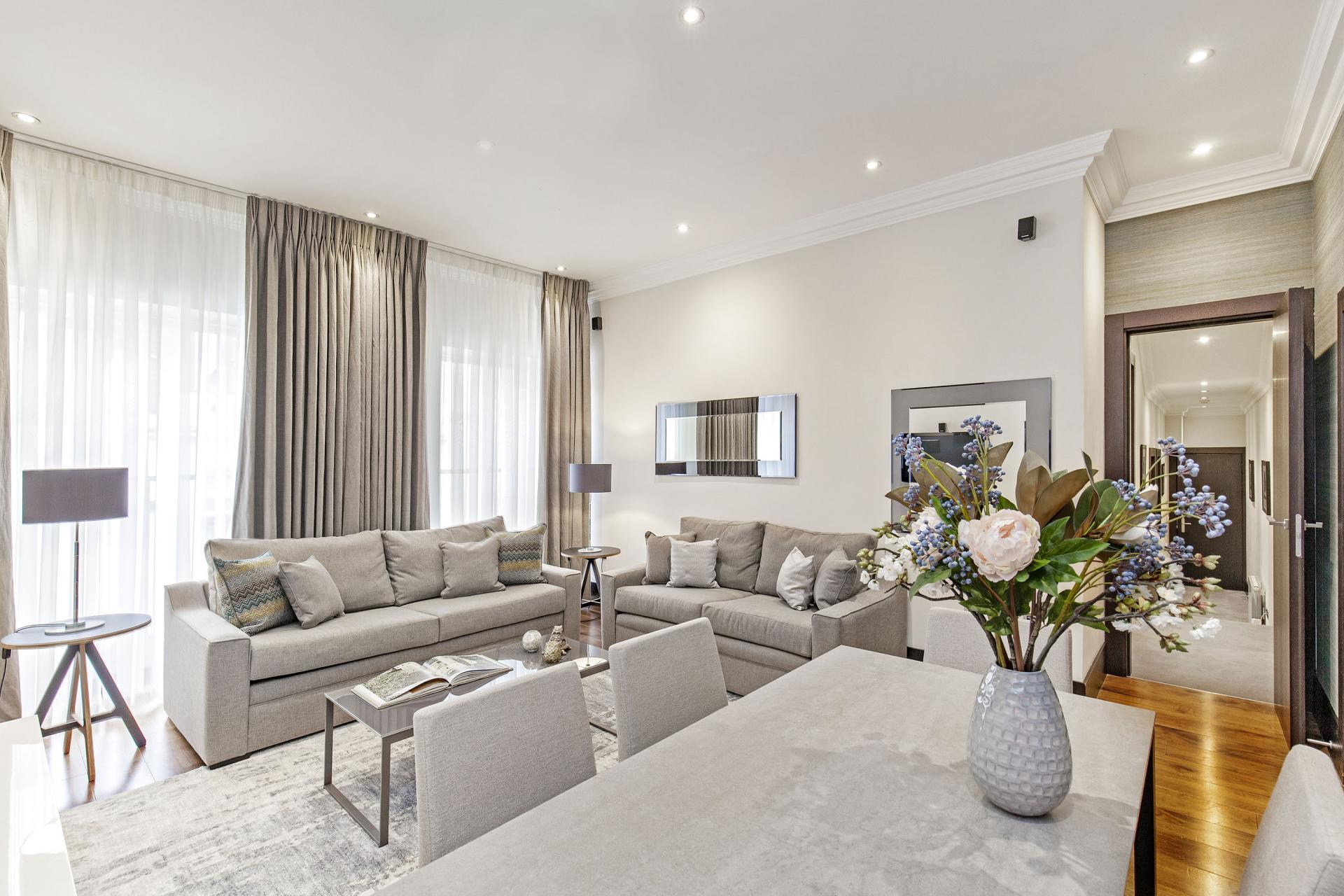 Sofa at 130 Queens Gate Apartments, South Kensington, London - Citybase Apartments