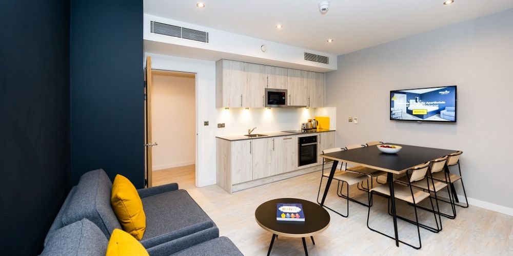 Kitchen at Staycity Manchester Northern Quarter, Ancoats, Manchester - Citybase Apartments
