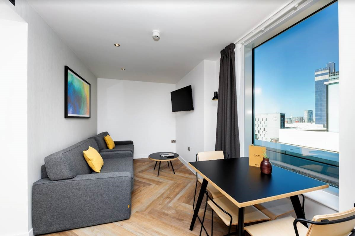 Living room at Staycity Manchester Northern Quarter, Ancoats, Manchester - Citybase Apartments