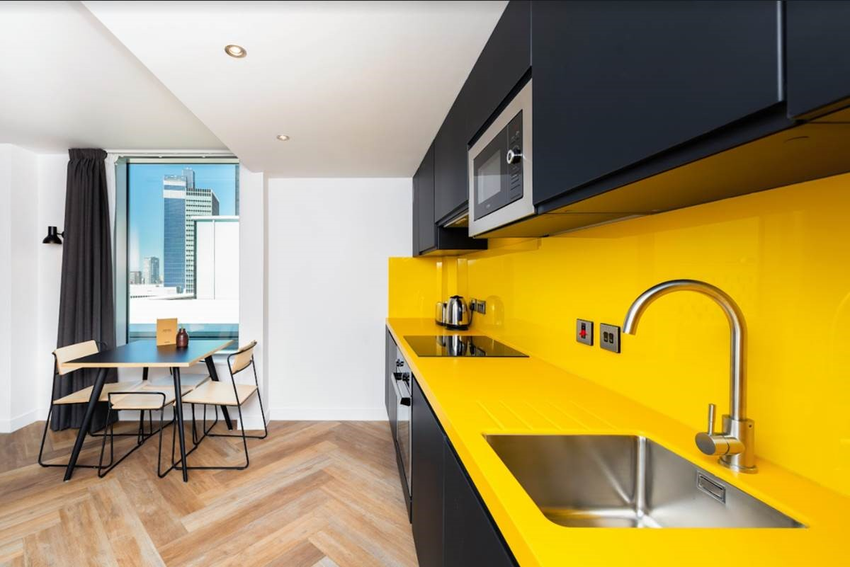 Kitchen view at Staycity Manchester Northern Quarter, Ancoats, Manchester - Citybase Apartments
