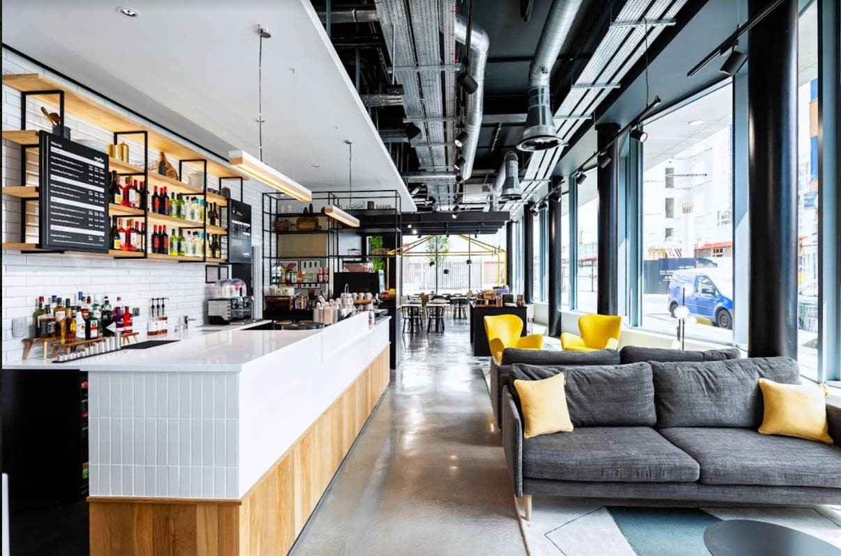 Lobby and bar at Staycity Manchester Northern Quarter, Ancoats, Manchester - Citybase Apartments