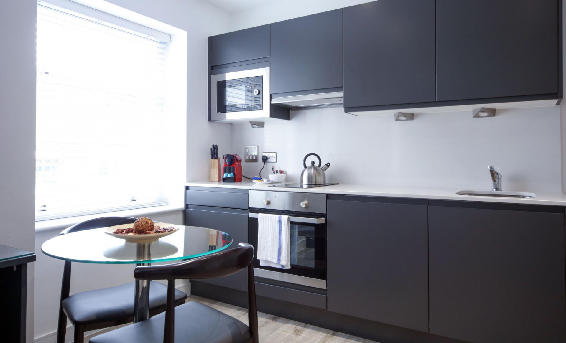 Kitchen at Citystop Apartments, Ropewalks, Liverpool - Citybase Apartments