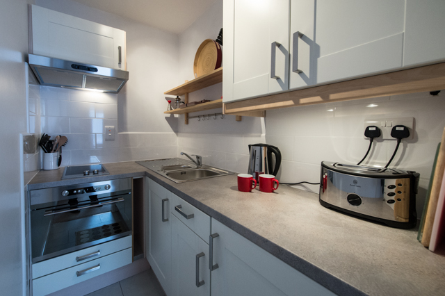 Kitchen at Oakfield Court Apartment Hotel, Sale, Manchester - Citybase Apartments