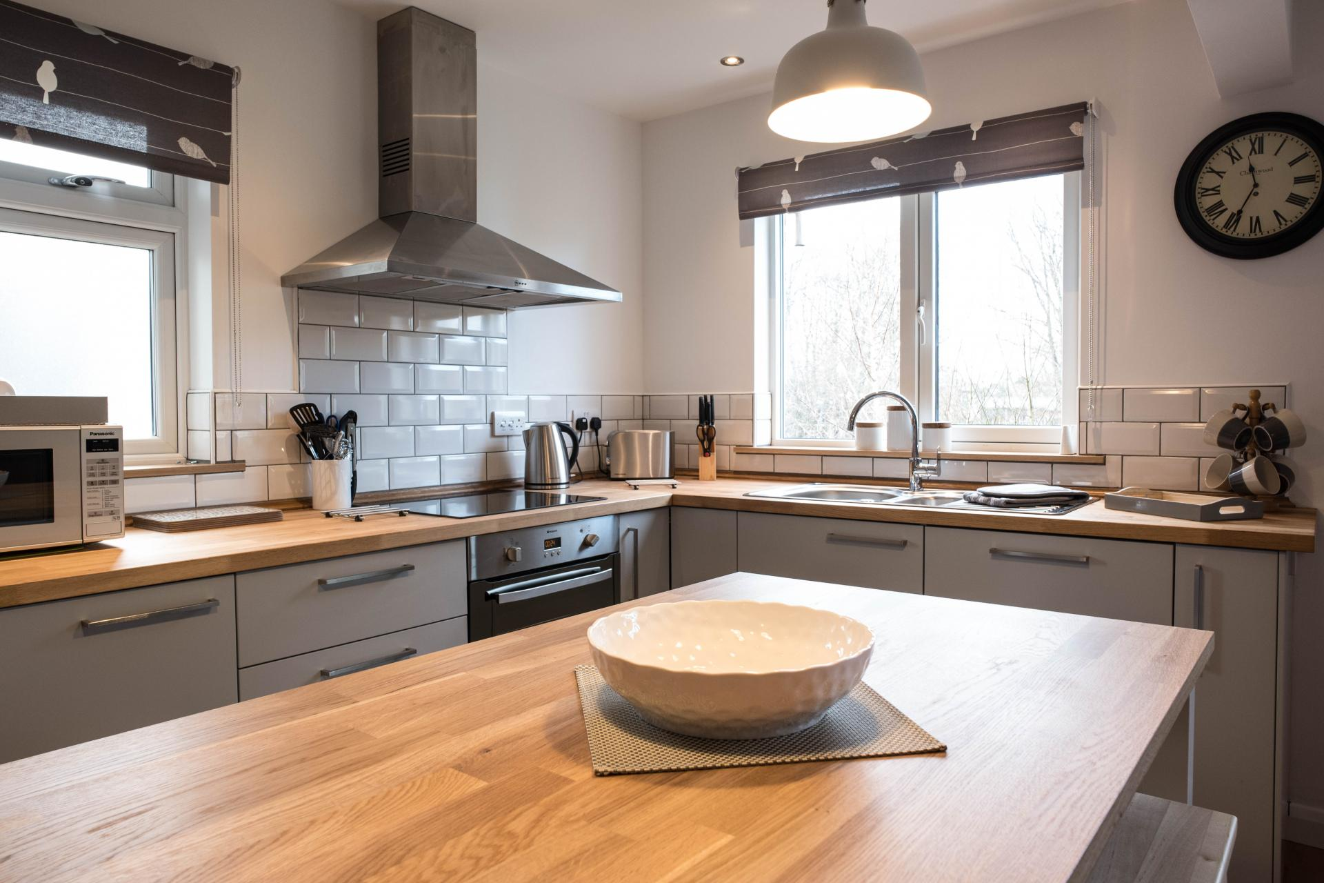 Spacious kitchen at Oakfield Court Apartment Hotel, Sale, Manchester - Citybase Apartments