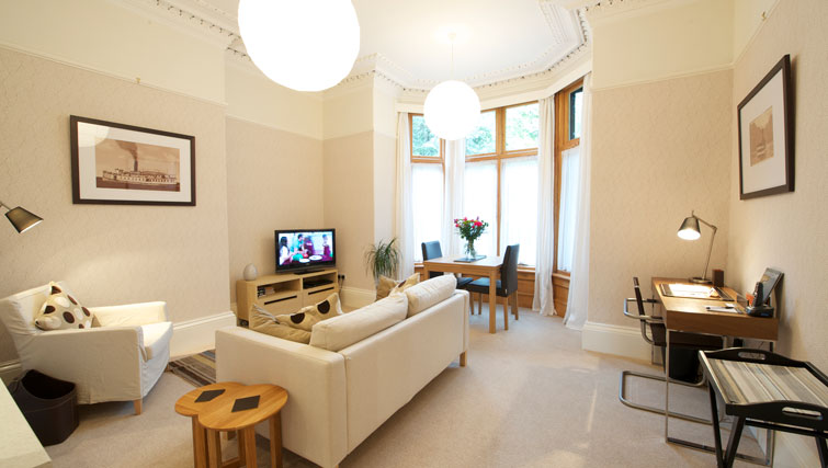 Cosy living area at Oakfield Court Apartment Hotel, Sale, Manchester - Citybase Apartments