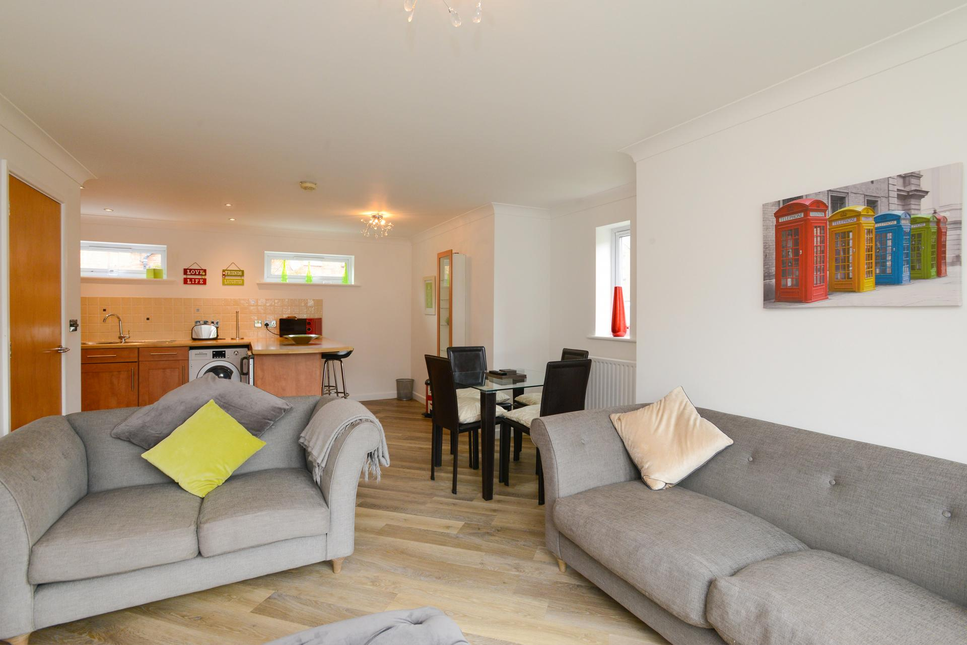 Open-plan at Edward's Court Apartment, West Bridgford, Nottingham - Citybase Apartments