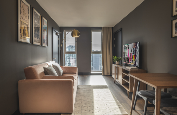 Living area at The Gate Apartments, Whitechapel, London - Citybase Apartments
