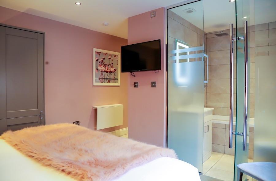 Pink room at No. 10 Theatre Street, Centre, Preston - Citybase Apartments