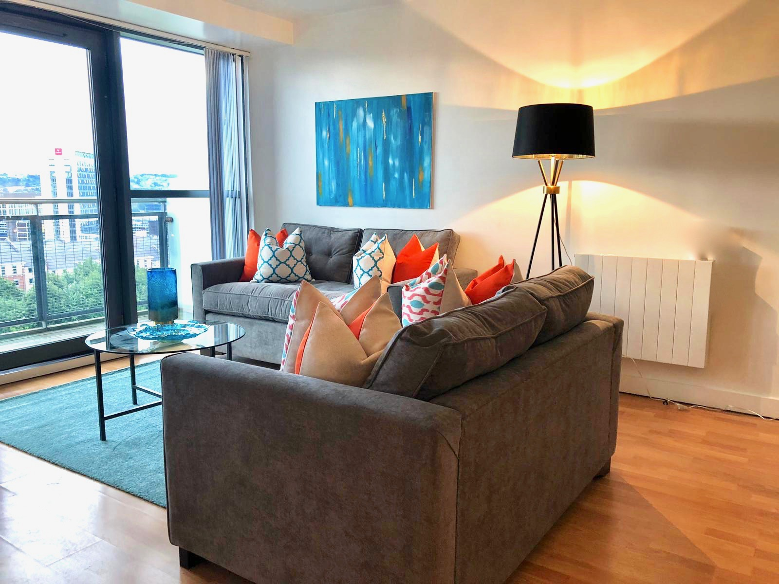 Living room and Sofa bed at West One Apartment, Centre, Sheffield - Citybase Apartments