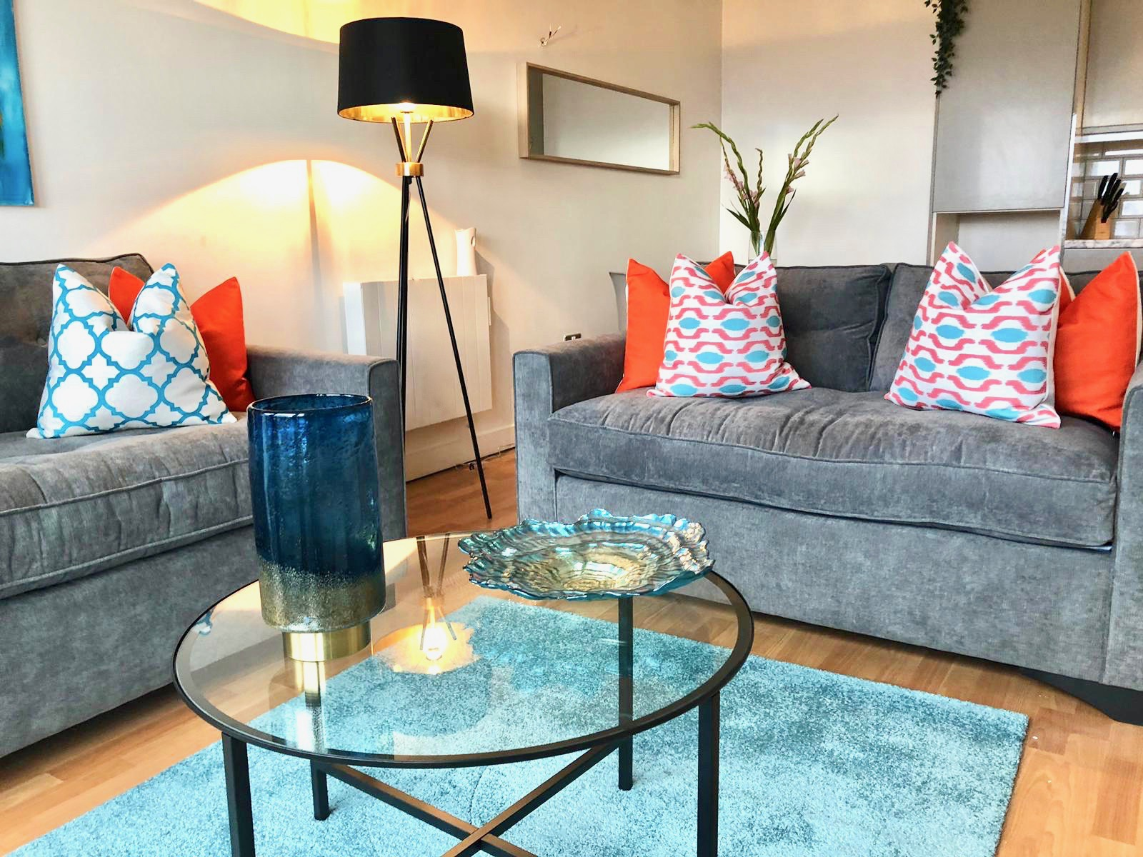 Living room at West One Apartment, Centre, Sheffield - Citybase Apartments