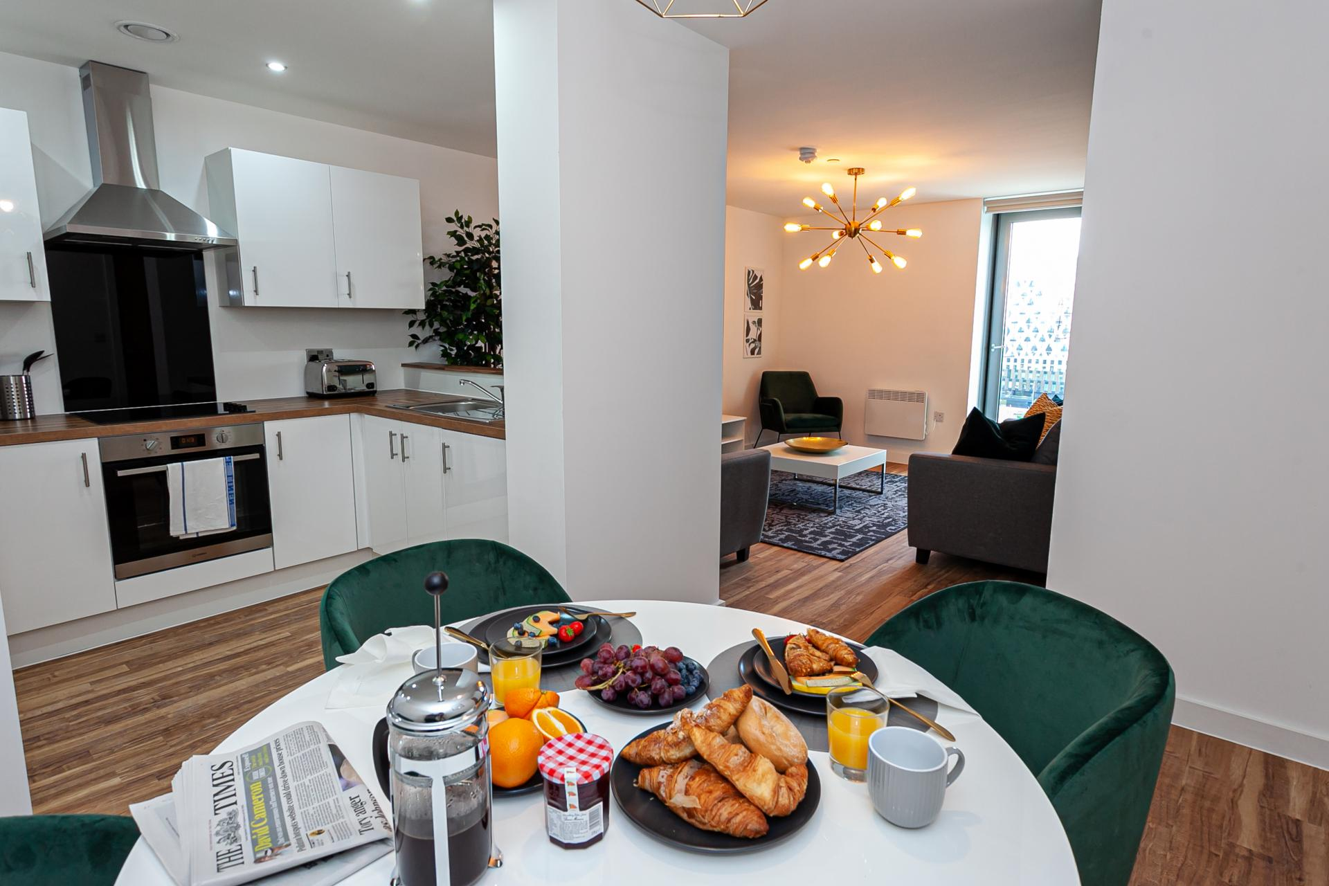 Kitchen diner at Michigan Point Tower, Ordsall, Manchester - Citybase Apartments