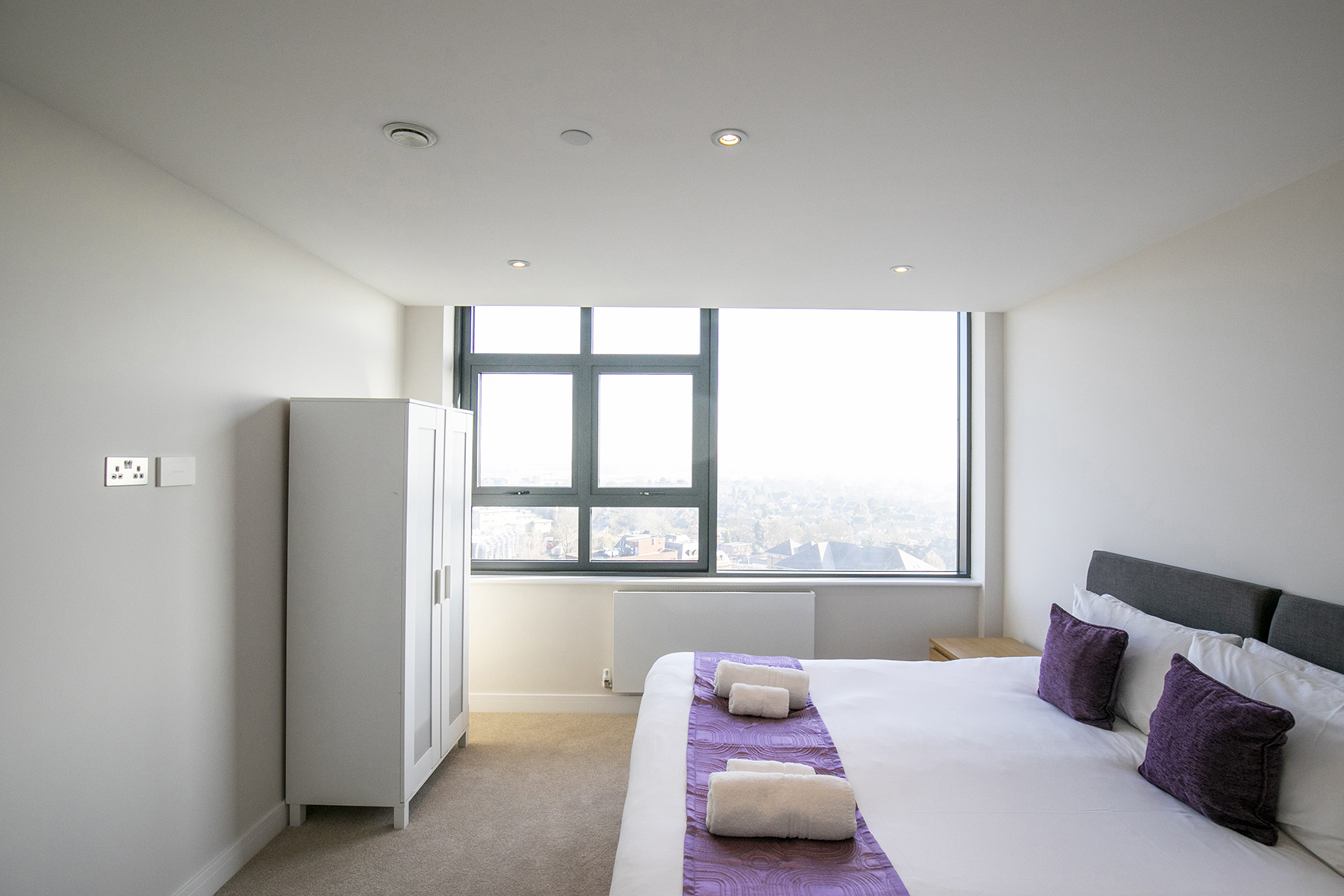 Bright bedroom at The View Apartments, Centre, Sunbury - Citybase Apartments