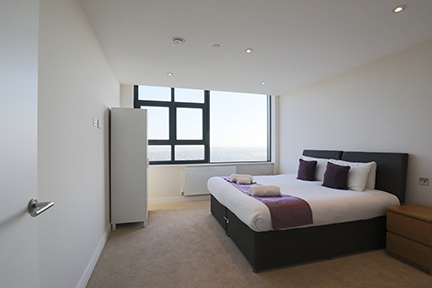Double bed at The View Apartments, Centre, Sunbury - Citybase Apartments
