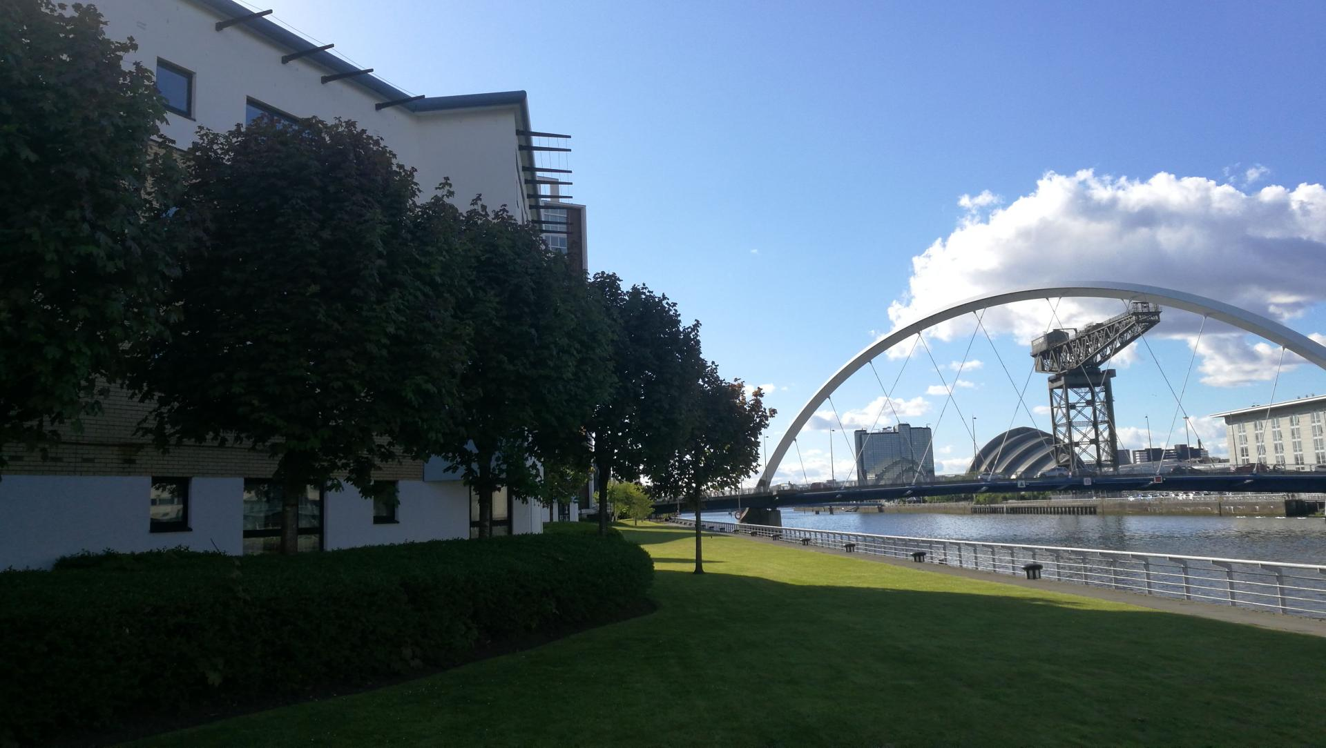Exterior River View at Glasgow Pacific Quay Apartments, Kinning Park, Glasgow - Citybase Apartments
