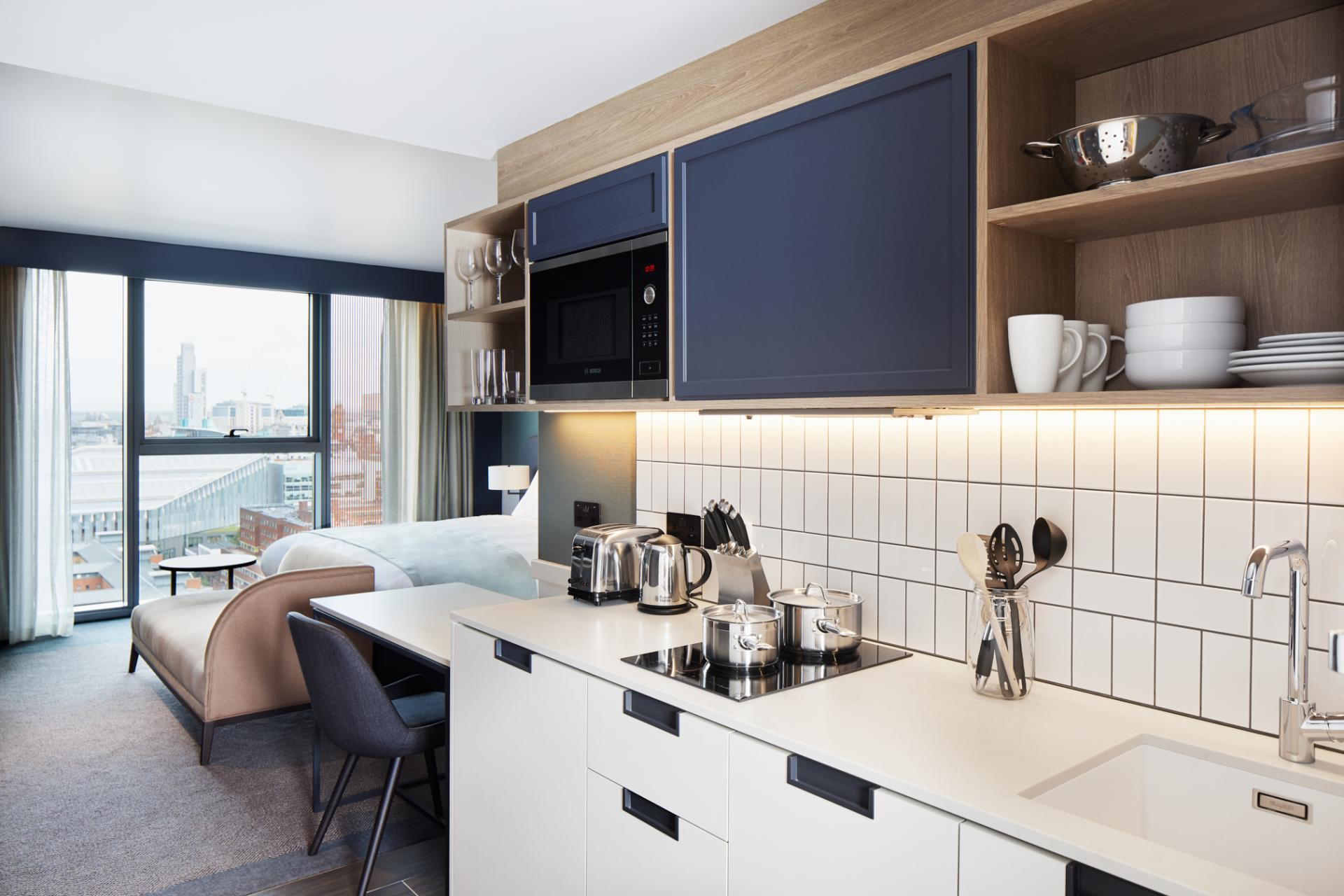 Kitchen at Hyatt House Manchester, Hulme, Manchester - Citybase Apartments