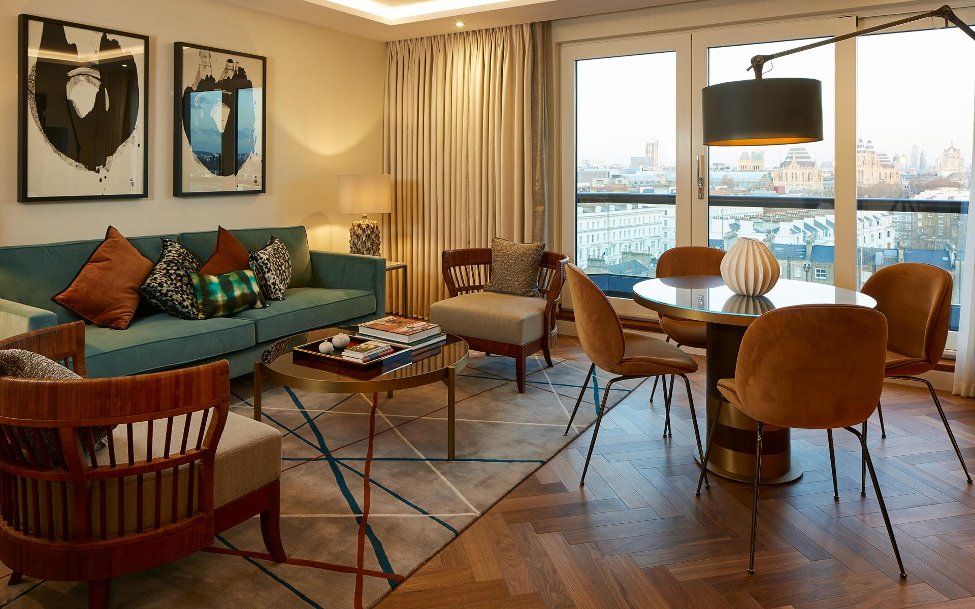 Living area at Cheval Gloucester Park, South Kensington, London - Citybase Apartments
