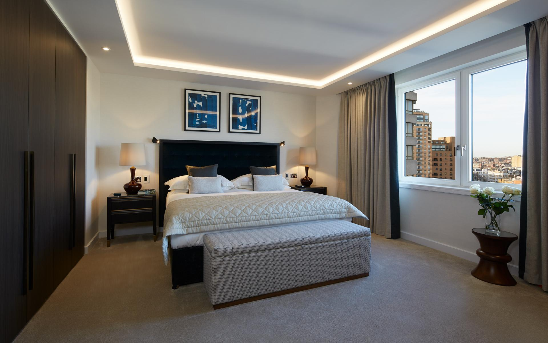 Master bedroom at Cheval Gloucester Park, South Kensington, London - Citybase Apartments