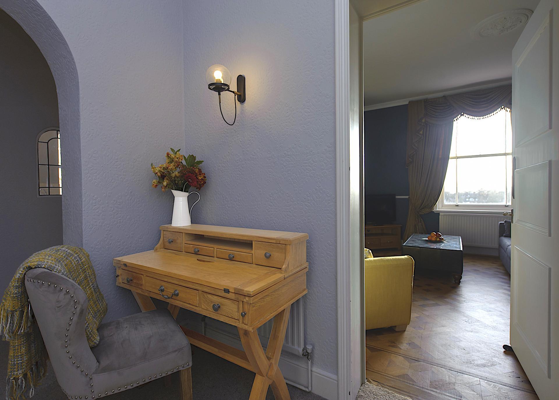 Work desk at Nottingham Park View Apartment, Centre, Nottingham - Citybase Apartments